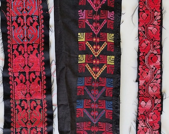 Antique Palestinian Embroidery Fabric Remnants Geometric Floral Birds Textiles Bedouin