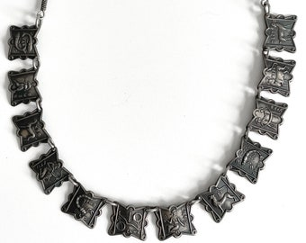 """Antique Israeli 12 Tribes of Israel Silver 20"""" Necklace"""