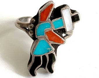 Vintage Zuni Inlay Rainbow Man Sterling Silver Woman's Ring sz 7 3/4   Turquoise Coral Jet MOP   Signed CKK