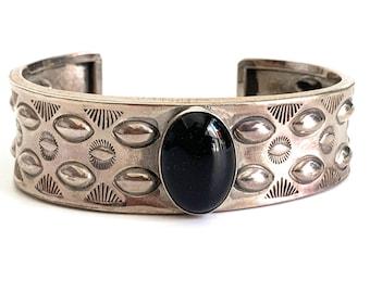 Native American Onyx Sterling Silver Cuff Bracelet Douglas Etsitty    Vintage Navajo Stamped
