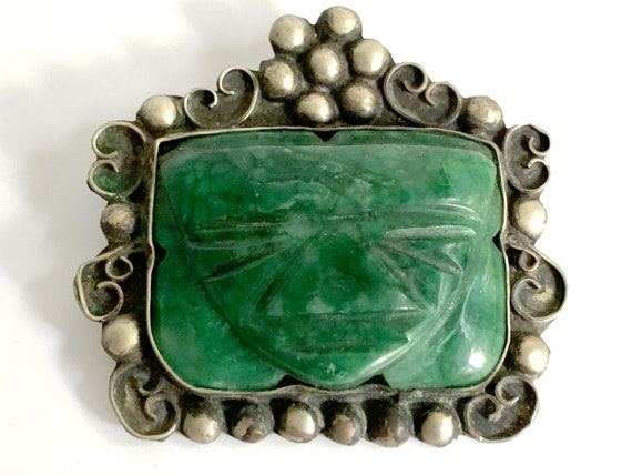 Large Vintage Mexican Carved Green Onyx Face Mask Pin Sterling Silver Brooch Diaz Santoyo