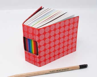 Bitty Book / A Page A Day Journal / 365 Day Journal / Hand Bound Notebook / Day Book / Lay Flat / Red Pink Polka Dots