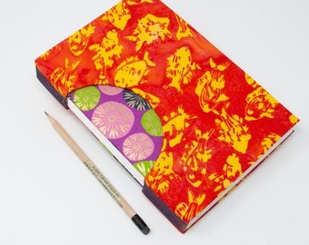 Journal /Blank Hand Bound Book / Notebook / Sketchbook / Rigid Fabric Cover / Lay Flat Pages / Blank Pages / Orange Batik Fish