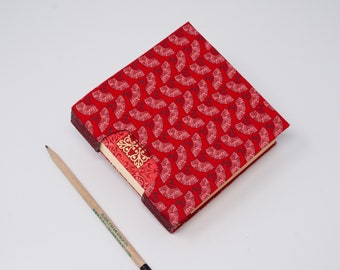 Guestbook / Small Sketchbook / Hand Bound Journal / Square Notebook / Lay Flat Blank Book / Rigid Fabric Cover / Red Asian Fans