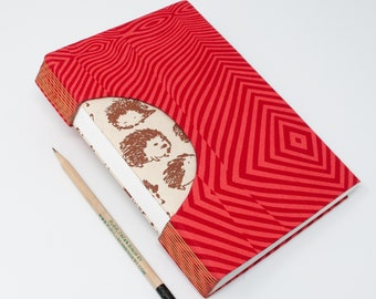 Journal /Blank Hand Bound Book / Notebook / Sketchbook / Rigid Fabric Cover / Lay Flat Pages / Blank Pages / Red Stripes and Hedgehogs