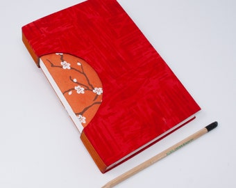 Journal /Blank Hand Bound Book / Notebook / Blank Pages / Rigid Fabric Cover / Lay Flat Pages / Bright Red and Orange Cherry Blossoms