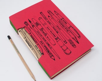 Blank Hand Bound Book / Journal / Lined Pages / Notebook / Fabric Cover / Lay Flat Pages / Pens + Pencils