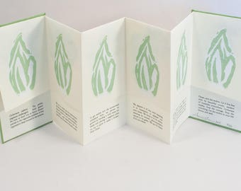 Artist Book / Limited Edition / Linoleum Print / Endive / Bloom + Seed / Gardening / Vegetables / Salad Greens / Accordion Book