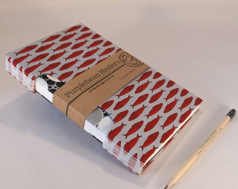 Handbound Journal / Travelers Notebook / Diary / Artist Sketchbook / Handmade / Rigid Fabric Cover / Red Fish / Lay Flat Pages