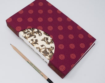 Journal / Blank Hand Bound Book / Notebook / Rigid Fabric Cover / Lay Flat Pages / Blank Pages / Red Orange Patterned