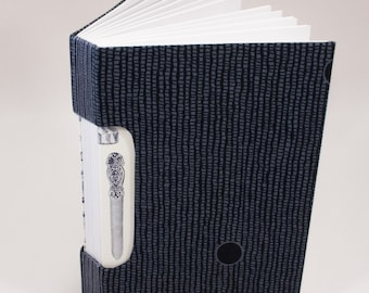 Writing Journal / Travelers Notebook / Diary / Artist Sketchbook / Hand Bound / Rigid Fabric Cover / Black and White / Lay Flat Pages