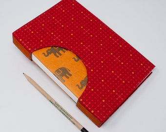 Journal / Blank Hand Bound Book / Notebook / Rigid Fabric Cover / Lay Flat Pages / Blank Pages / Bright Red Orange Elephants