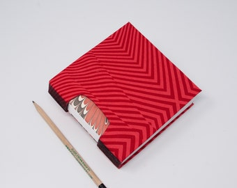 Guestbook / Small Sketchbook / Hand Bound Journal / Square Notebook / Lay Flat Blank Book / Rigid Fabric Cover / Red Stripes and Marbled