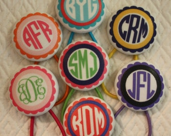 Monogrammed Ponytail Holder Hair Tie Customized