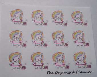 Hula Hoop Unicorn Stickers / Planner Stickers / Scrapbooking