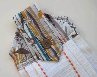 Hanging kitchen towel  button top Modern Abstract floral brown rust  Quiltsy handmade