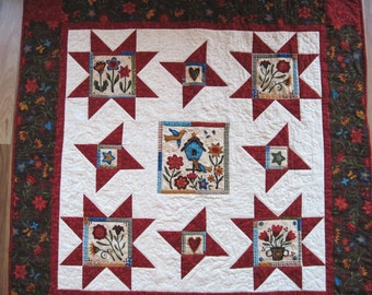 Quilted  throw  lap quilt wall hanging primitive  blanket wheelchair sofa quilt Free Shipping  to U.S. Quiltsy handmade