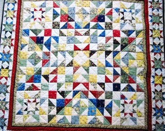 Small Lap quilt  Wall hanging sofa quilt baby quilt  patchwork stars scrappy quilt 44 inches square