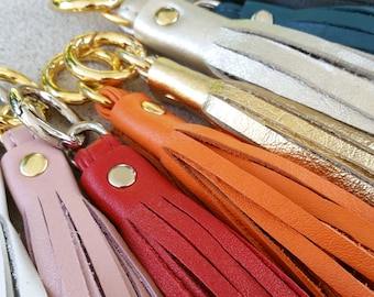 Genuine Leather Tassel - Handbag Charm - 3 Sizes - Gold & Nickel Finishes - 25 Leather Colors