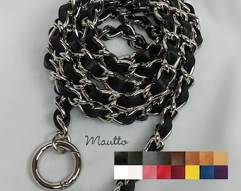 cfe24861035a01 Classic NICKEL Chain Bag Strap with Leather Weaved Through - Choice of  Length & Hooks - Additional Leather Colors Available!
