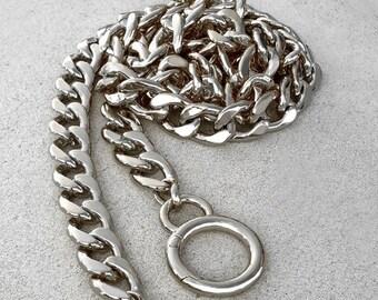 "Large Flat Diamond Cut - NICKEL Chain Luxury Strap - 9/16"" (15mm) Wide - Choose Length & Hooks/Clasps"