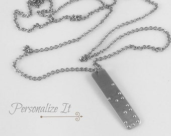 REAL BRAILLE, Braille Necklace, Personalized Jewelry, Braille Jewelry, Braille, Personalized Braille, Can Be Read By Visually Impaired