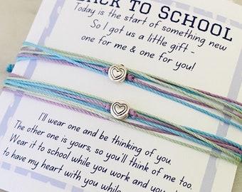 First Day of School, Back to School, Bracelet Set, Mommy and Me Bracelet, Pura Vida Inspired, Heart Charm Bracelet, Cord Bracelet Set (SKU2)
