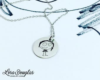 Turn Your Child's Art Into Jewelry, Child Art Charms, Art Pendant, Mom Necklace, Engrave Your Child's Art, Kid Art Jewelry, Kid's Art