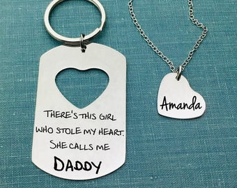 There's This Girl Who Stole My Heart She Calls Me Daddy, Father's Day Gift, Baby Gift, His and Hers, Gift Set, Keychain, Necklace