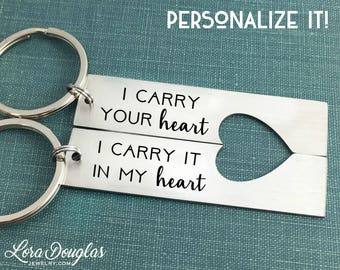 I carry your heart, I carry it in my heart, Heart Keychain, Keychain Set, His and Hers, Hers and Hers, His and His, Couples Gift, Valentines