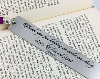 Wedding Reader Bookmark, Wedding Party Gift, Engraved Bookmark, Wedding Gift, Wedding Favor, Bookmark, Wedding Reader, Write Our Story