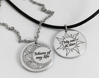 Moon of My Life, My Sun and Stars, Game of Thrones Jewelry, Game of Thrones Gift, His and Hers Jewelry, Necklace Set, Game of Thrones