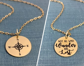 Not all Who Wander Are Lost, Compass Charm, Compass Pendant, Compass Jewelry, Gold Necklace, Stainless Steel Jewelry, 5/8 inch
