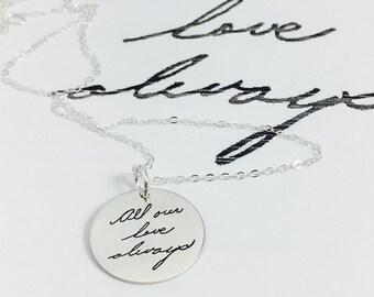 Engraved Handwriting, Handwriting Jewelry, Handwriting Pendant, Handwriting Necklace, Engrave Your Handwriting, Engraving