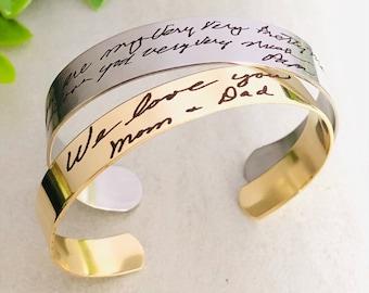 Engraved Handwriting, Handwriting Bracelet, Handwriting Jewelry, Handwriting Engraved Jewelry, Real Handwriting Jewelry, Signature Bracelet