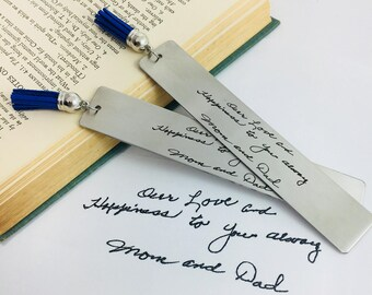Engraved Handwriting, Bookmark, Engraved Handwriting Bookmark, Silver Bookmark, Metal Bookmark, Engraved Handwriting, Handwriting