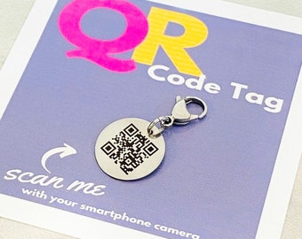 QR Code Tag, QR Code Charm, Purse Tag, Backpack Tag, Zipper Pull, Lunchbox Tag, Lost and Found, If Found Please Call, Custom QR Code