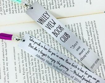 Personalized Bookmark, Metal Bookmark, Engraved Bookmark, Engraved Gift, Custom Bookmark, Custom Engraving, Teacher Gift, Tassel Bookmark