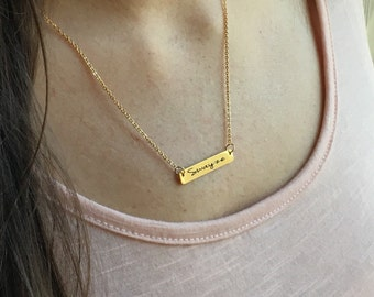 Personalized Bar Necklace, Gold Bar Necklace, Bar Necklace, Engraved Jewelry, Gold Jewelry, Gold Necklace, Stainless Steel Jewelry