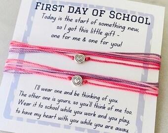 First Day of School, Back to School, Bracelet Set, Mommy and Me Bracelet, Pura Vida Inspired, Heart Charm Bracelet, Cord Bracelet Set (SKU3)