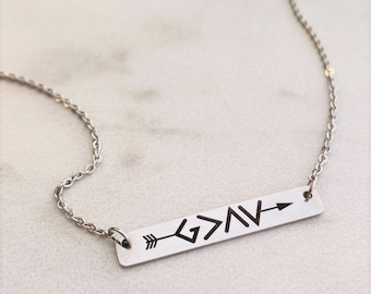 God Is Greater Than The Highs and Lows, Bar Necklace, Silver Bar Necklace, Gold Bar Necklace,