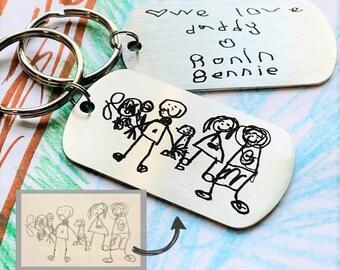 Custom Artwork Keychain, Stainless Steel Engraved Keychain, Custom Engraving, Engrave Your Child's Artwork or Handwriting, Engraved Art