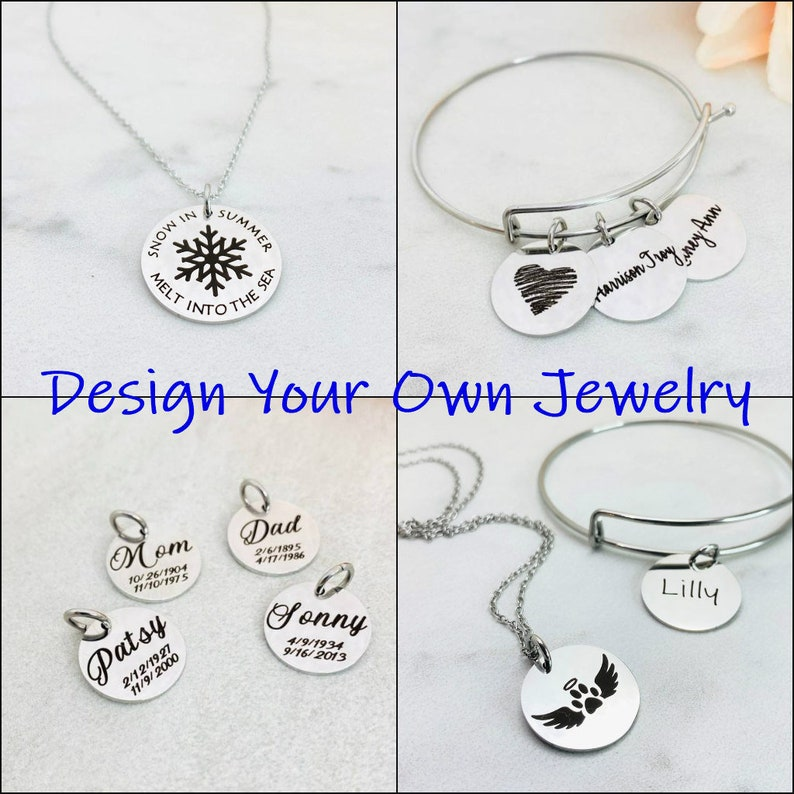 Personalized Engraved Jewelry Custom Engraving Charm image 0