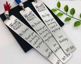 Personalized Teacher Appreciation Bookmark, End of the Year Teacher Gift, Personalized Bookmark, Gift for Teacher, Teach Love Inspire