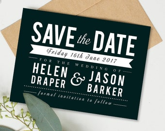 Printable wedding save the date card - Draper collection (black and white)
