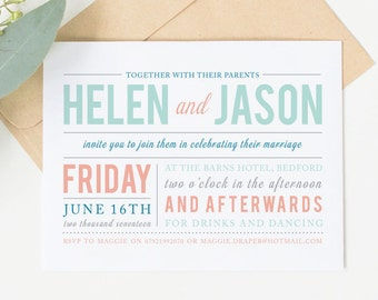 Printable wedding invitation set - Draper collection (colour)