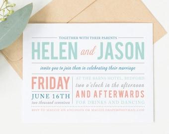 Sample wedding invitation set - Draper Colour collection