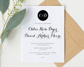 Printable wedding invitation set - Moore collection
