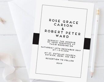 Printable wedding invitation set - Carson collection