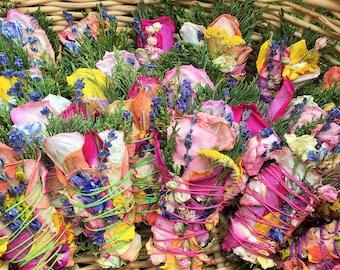 30 Burnable Botanical Bundles: Roses, Lavender, Sage, Cedar, Pine, Blooms, Herbs. Purify Your Air w/ Pure & Natural Herbal Floral Incense!